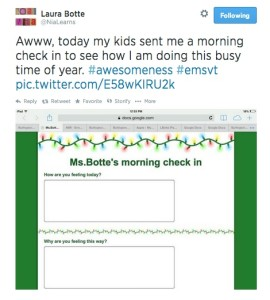 How to use Google Docs to get your students to talk to you: A tweet from a teacher showing her students sent her a Google Form to check on her well-being.