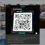 an iOS screen showing how the Fuse app connects wirelessly to Camtasia with a QR code