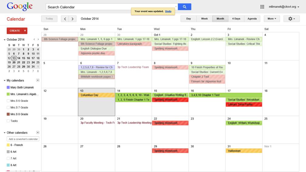 google calendar for homework assignments