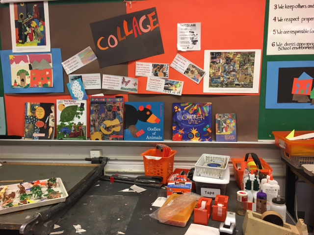 McReynolds' collage station, complete with models, direction and inspiration.