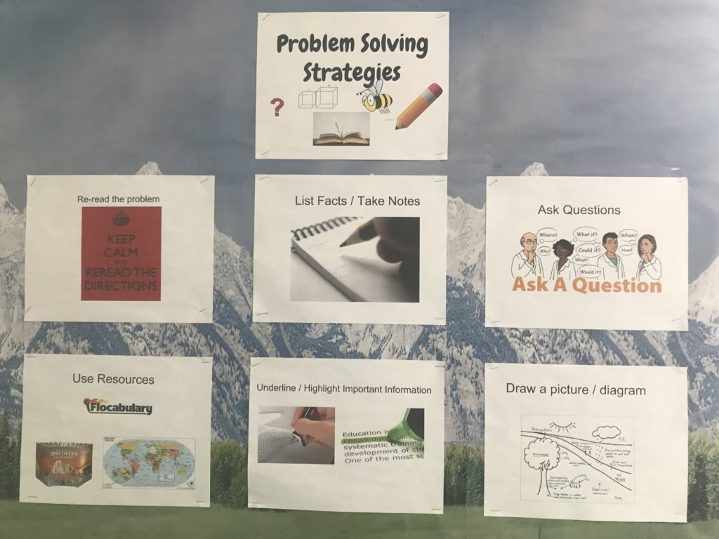 Teaming as a catalyst for change: A bulletin board with problem solving strategies such as list facts, ask questions, use resources, and draw a picture.