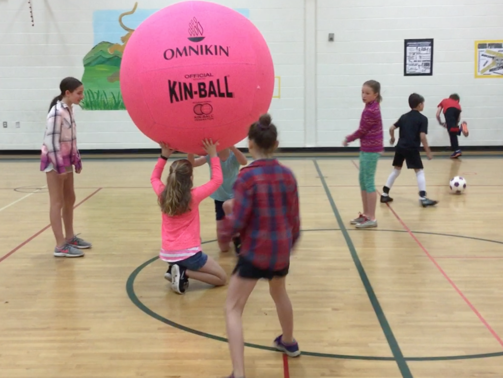 Girls playing with a giant Kin-ball.