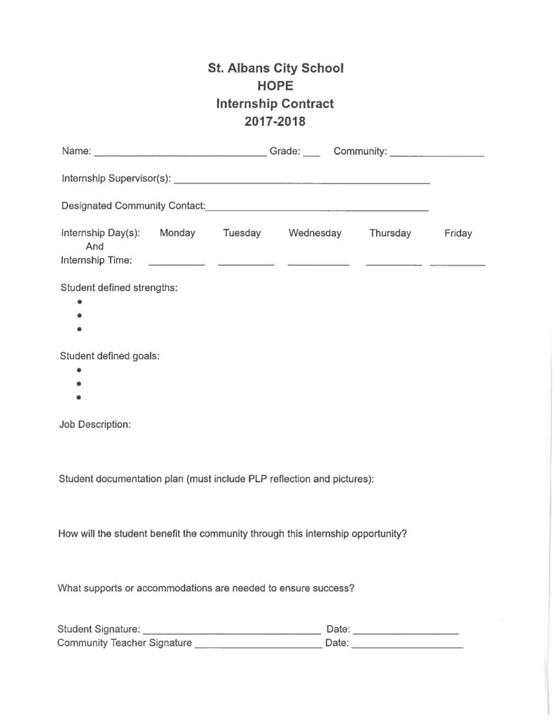 A sample contract for an internship at St. Albans City School. Click to enlarge.