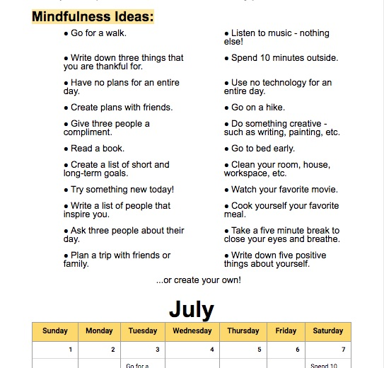 resources for building community: the mindfulness calendar