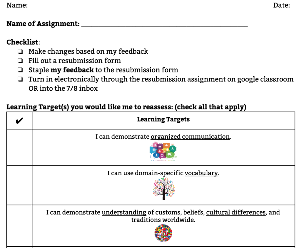 Screen shot of a form where students indicate what they want to be reassessed on.
