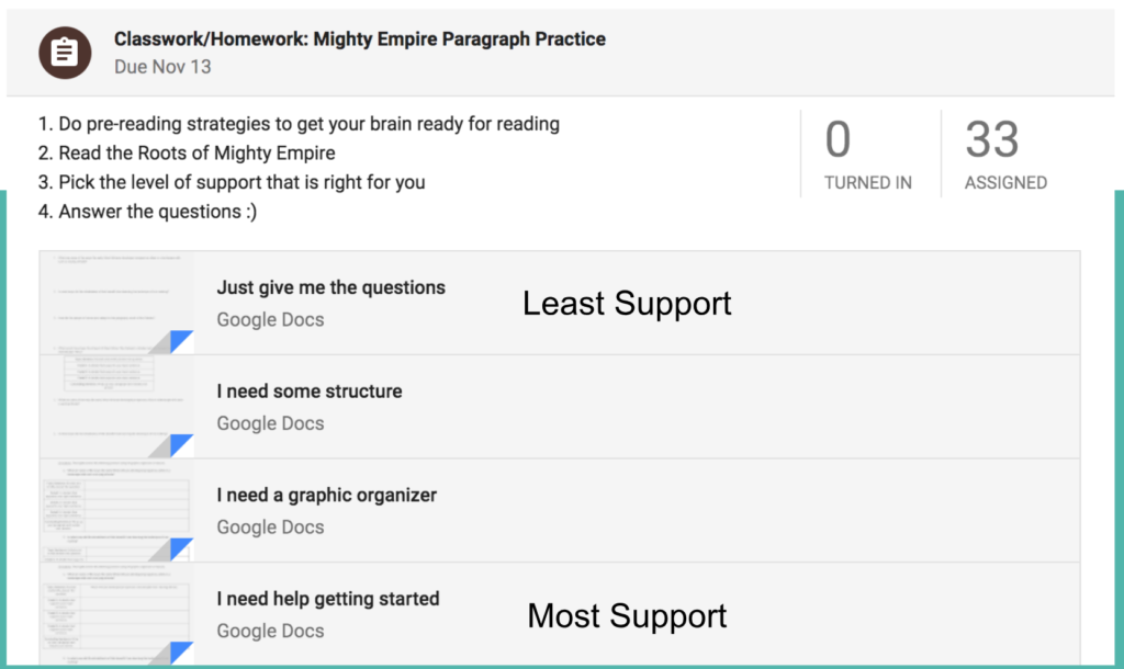 Screen shot of Google Classroom with assignments organized from least to most support.