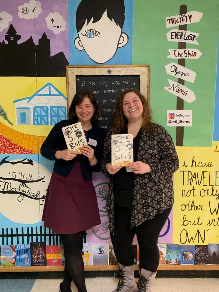 Host, Jeanie Phillips, left with Caitlin Classen, right and two copies of the book The 57 Bus.