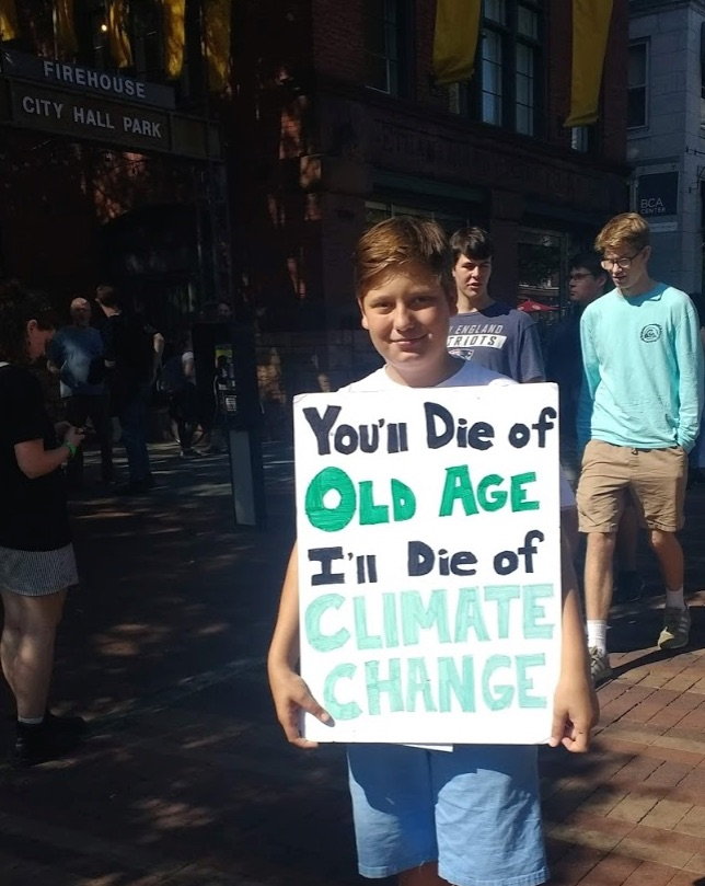 student at Burlington Youth Climate Strike