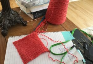 Knitting & algebra: my swatch of Harrisville Designs Shetland for the Tangled Yoke Cardigan