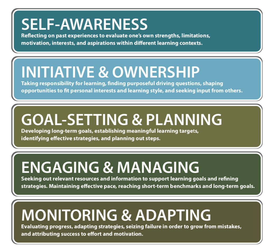 Five components of Self-Direction: Self-Awareness, Initiative and Ownership, Goal-Setting and Planning, Engagement and Managing, Monitoring and Adapting, and Self-Direction and Self-Directed Learning