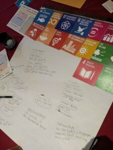 UN Sustainable Development Goals tiles atop a piece of paper with student writing