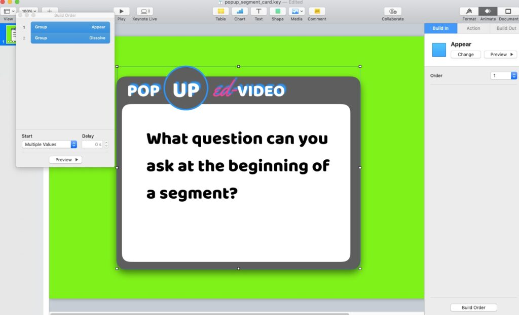 Pop Up Video default screen for Chapter Segment creator