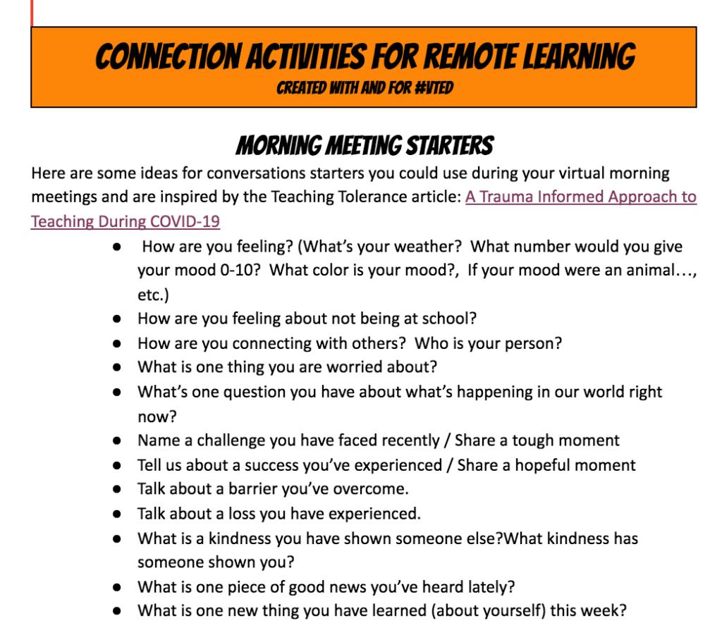 virtual morning meetings