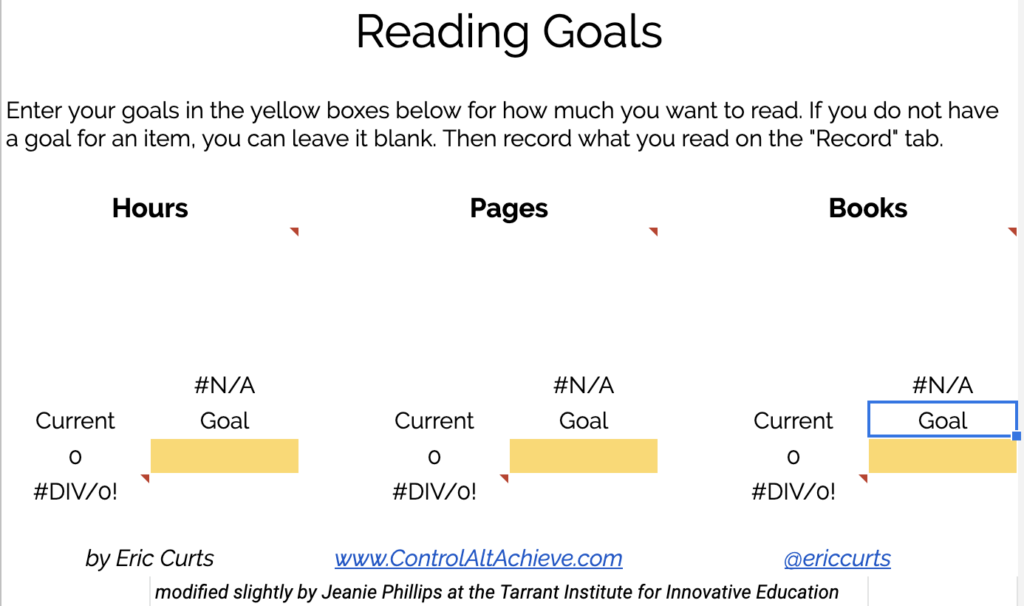 Reading Goals spreadsheet with spaces to fill in reading goal by hours, pages, and number of books.