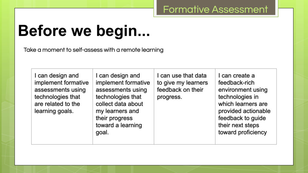 Formative Assessment learning targets