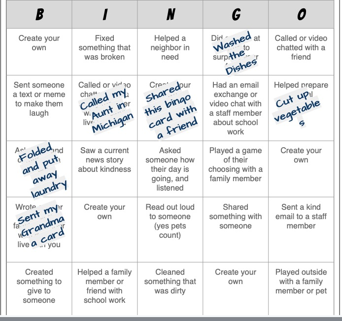 kindness bingo socially distanced advisory activities