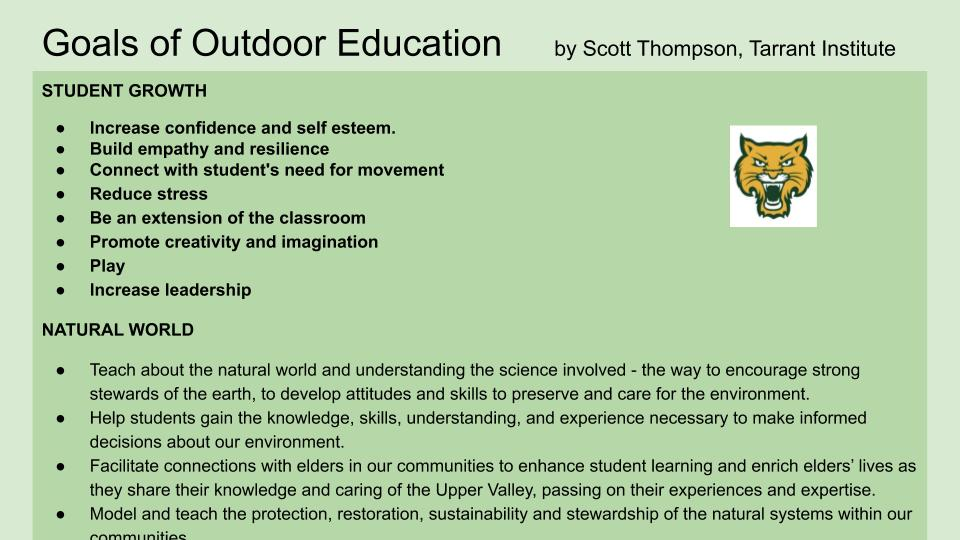 outdoor education vermont goals