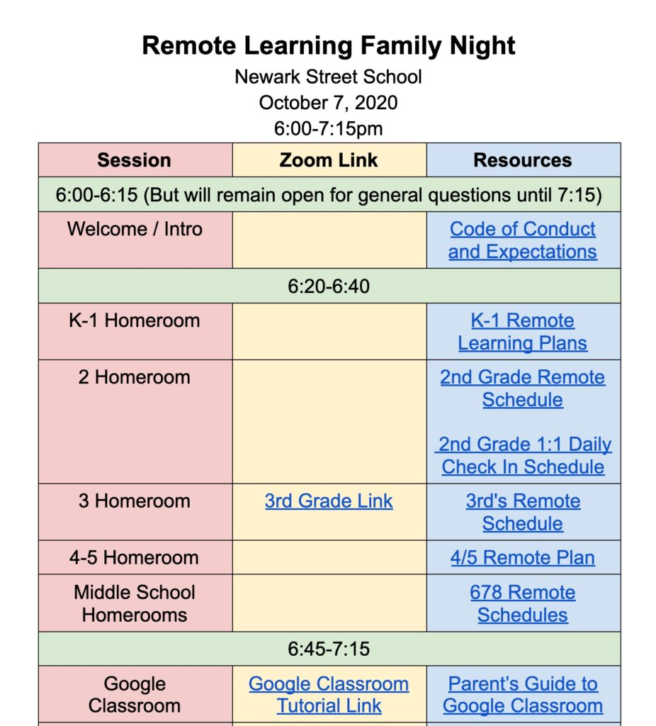 virtual parent night