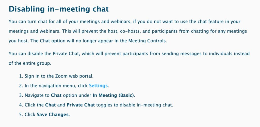 because internet: disabling chat in zoom