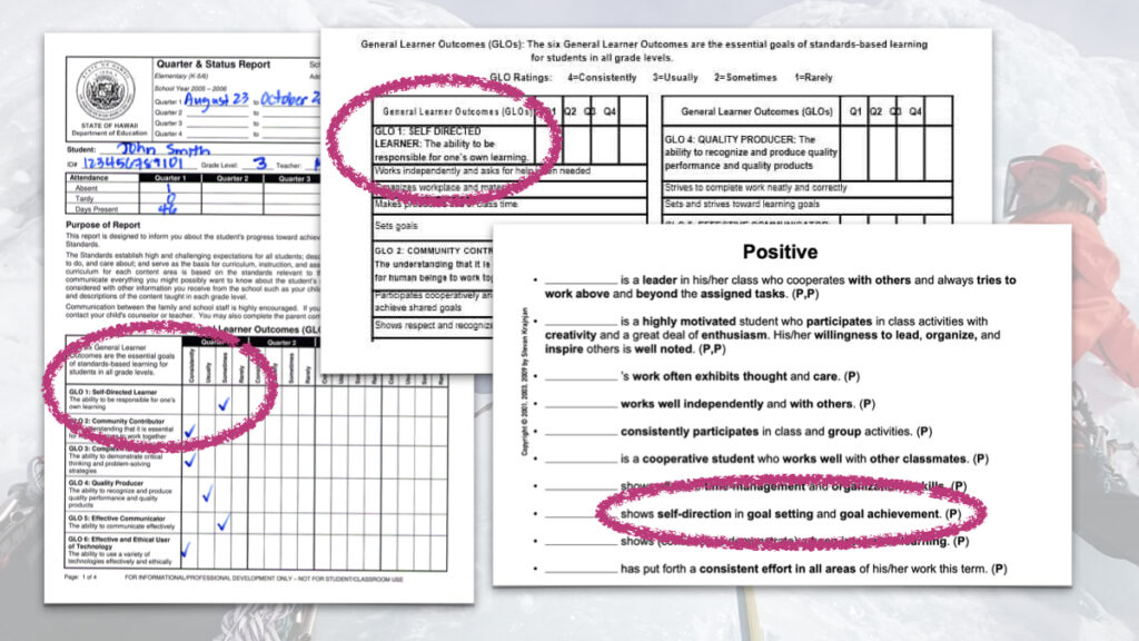 """Self-direction as metrics of success on report cards: (l to r) State of Hawaii (general), State of Hawaii (kindergarten), and as part of a """"Positive Dispositions"""" report card section."""
