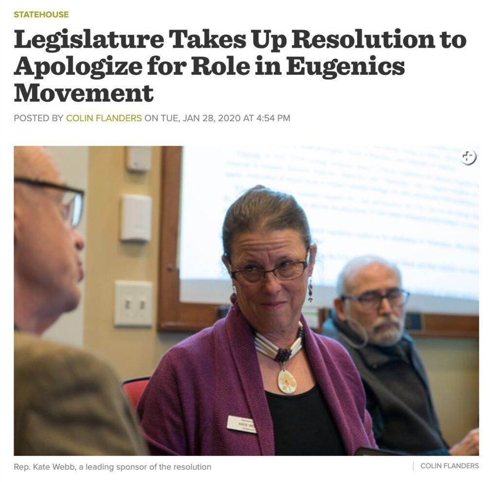 Kathleen Brinegar Seven Days VT article on current legislative activity around eugenics in Vermont