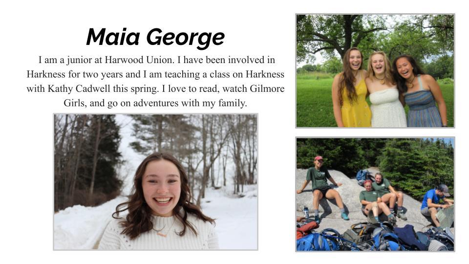 Maia George, Harwood Union High School