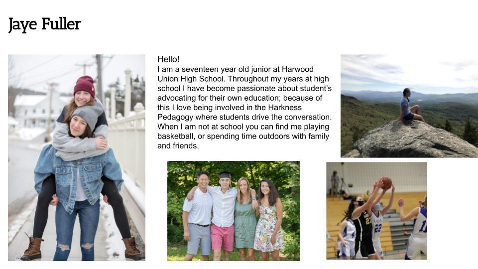 Jaye Fuller, Harwood Union High School