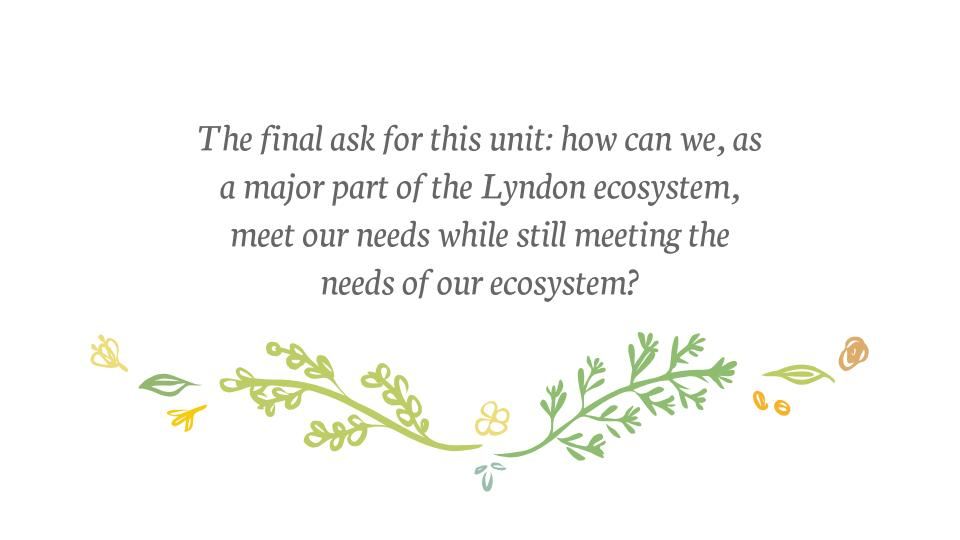 """""""The final ask for this unit: how can we, as a major part of the Lyndon ecosystem, meet our needs while still meeting the needs of our ecosystem?"""""""