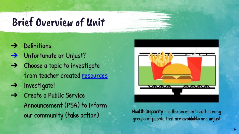 Brief overview of health equity unit